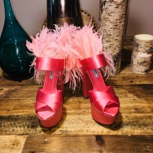 Prada Satin Feather Trim Platform Sandal Orig$1095